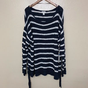 Caslon Tunic Side Tie Striped Sweater 3X Navy